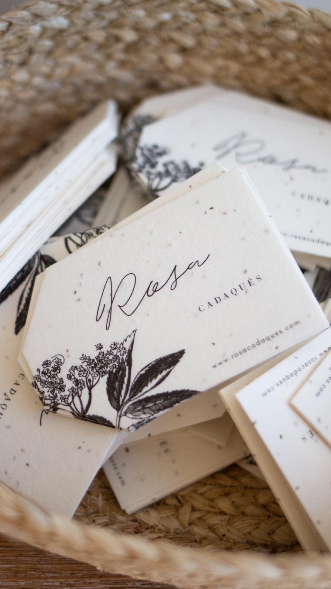 Etiqueta de papel con semillas para rosa cadaques