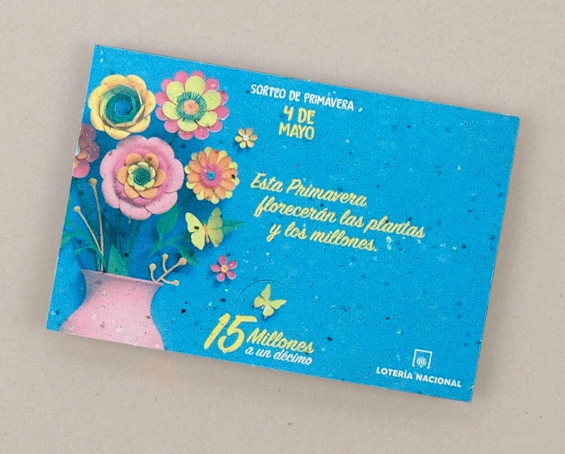 Postal en tamaño A6 en papel con semillas para el sorteo de primavera de la lotería nacional